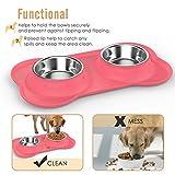 Napf Set für Katzen & kleinere Hunde – 2x Edelstahlnapf incl. flexiblem Silikontablett - 6