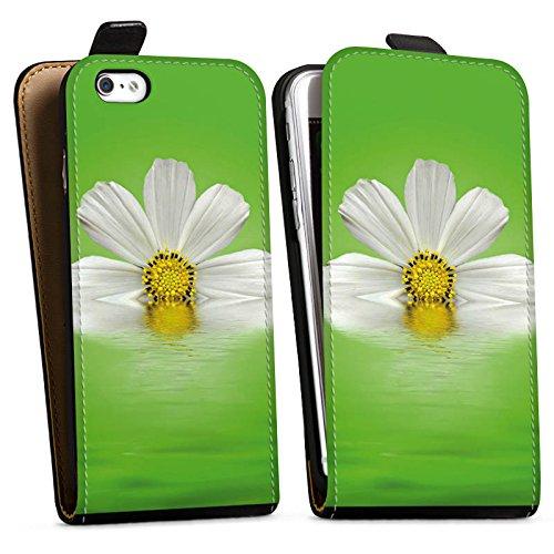 Apple iPhone X Silikon Hülle Case Schutzhülle Gänseblümchen Blume Blüte Downflip Tasche schwarz