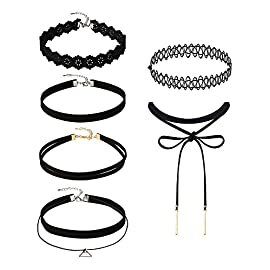Mudder 6 Pieces Black Velvet Choker Necklaces Set Gothic Stretch Tattoo Choker Elastic Tassel Pendant Necklaces for Women Girls