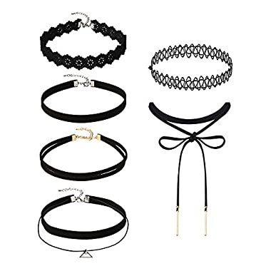 Mudder 5 Pieces Black Velvet Choker Necklaces Stretch Tattoo Choker Elastic Tassel Necklaces