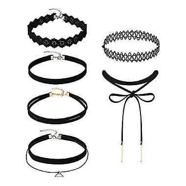 Mudder 5 Pieces Black Velvet Choker Necklaces Stretch Tattoo Choker Elastic Tassel Necklaces