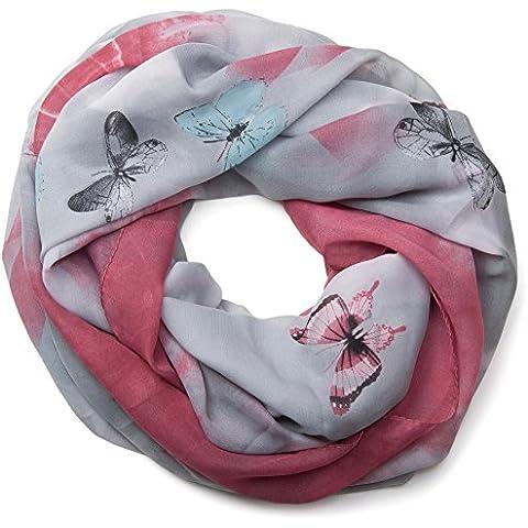 styleBREAKER fular de tubo con motivo de mariposas, ligero y sedoso, mujeres 01016097