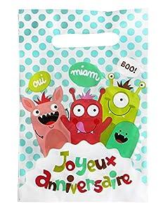 DYNASTRIB Happy Monster - Bolsas para caramelos (6 unidades, 23 x 15 cm), multicolor