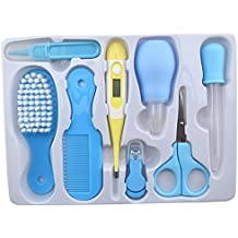 HOME CUBE® 8 Pcs Baby Grooming Health Care Manicure Set Baby Nail Care Practical Clipper Trimmer Convenient Daily Baby Hair Brush Care Kits - Random Color.
