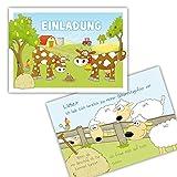 10 x Einladungskarten BAUERNHOF zum Kindergeburtstag für Mädchen und Jungen / Einladungen Bauernhof