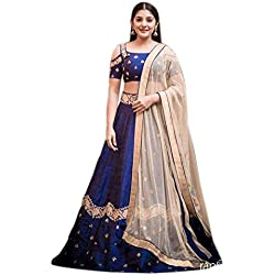 Aryan Fashion Women's Velvet Anarkali Semi-Stitched Lehenga Choli (Aryan _3Er10657_Blue_Free Size)