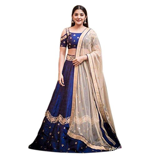 4Fashion Empire Women's Velvet Anarkali Lehenga Choli (4Fe10657_Blue)