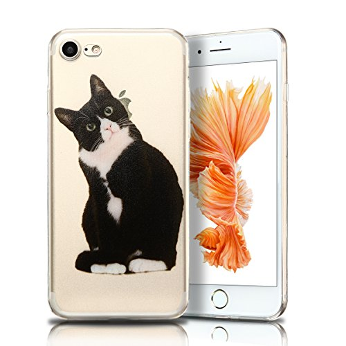 Cover iPhone 7 Custodia iPhone 7 Silicone Anfire Morbido Flessibile TPU Gel Case Cover per Apple iPhone 7 (4.7 Pollici) Ultra Sottile Clear Trasparente 3D Copertura Antiurto Bumper Protettivo Skin Car Kitty
