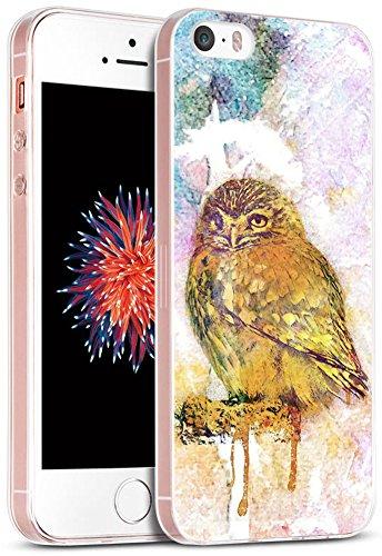 iPhone SE Fall Eule/iwone Apple iPhone 5S 5SE Schutzhülle TPU Skin Cover Schutz Gummi Silikon + Funny Herr Eule in Brille Design Animal, VV2