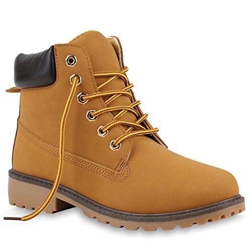 Damen Stiefeletten Worker Boots Outdoor Schnürstiefel Schuhe Hellbraun