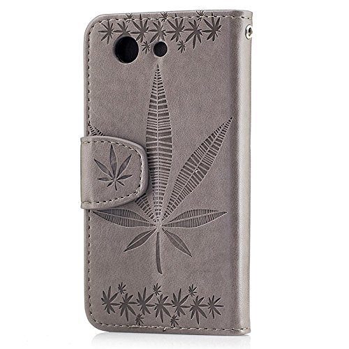 YHUISEN Geprägtes Ahornblatt Design PU Leder Flip Wallet Stand Case mit Card Slot Für Sony Xperia Z3 Compact ( Color : Brown ) Gray
