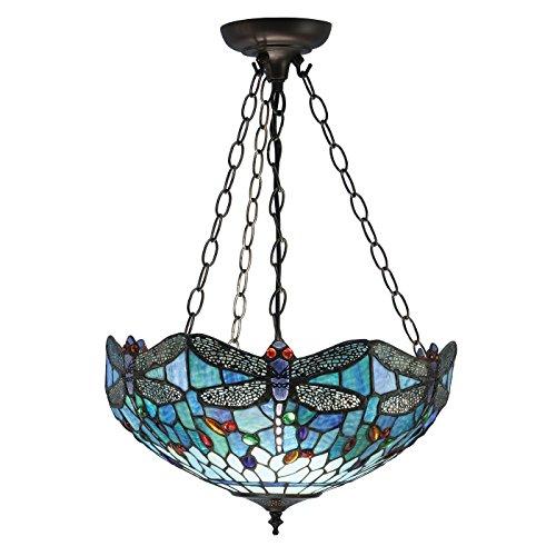 Pendelleuchte - Glas im Tiffany-Stil und dunkle Bronze mit Highlights von Happy Homewares