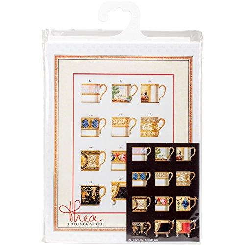 Thea Gouverneur TG302205 Kreuzstich-Set, Motiv Tassen auf Aida, 49,5 x 35,6 cm - Gouverneur Kreuzstich-thea
