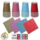 Set di stoviglie usa e getta Set da 64 pezzi Tazze di carta 80 pezzi Tovaglioli