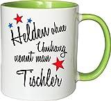 Mister Merchandise Becher Tasse Helden Ohne Umhang Nennt Man Tischler Kaffee Kaffeetasse liebevoll Bedruckt Beruf Job Geschenk Weiß-Grün