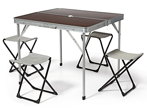 Bertoni 4X4 Mdf Set Tavolo e 4 Sgabelli da Campeggio, Marrone/Alluminio, Unica