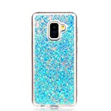 Coque Galaxy A8 2018, Misteem Glitter Sequins, Misteem Shining Sparkle Bling Stars Diamond Back Case Transparent Ultra Slim Thin Shockproof Shell Rubber Silicone Crystal Clear Protective Cover Bumper for Samsung Galaxy A8 2018 (Blue)