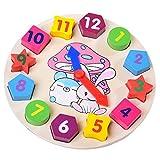PANNIUZHE Kinder Holz-Uhr-Puzzle Spielzeug Cognitive Digital Clock Digital-Satznummern Form Sortierung Sorter Intelligentes Spielzeug für 2 Jahre alt