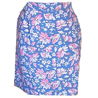 Floral Half waist tie apron with single pocket Blue