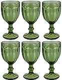 Vintage 6 Teile Set Schmetterlinge König Weinglas Glas Gläser Weingläser Wasserglas Longdrinkglas (grün)