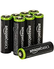 AmazonBasics 8 Pack AA Ni-MH Pre-Charged Rechargeable Batteries, 1000 Cycle (Typical 2000mAh, Minimum 1900mAh)