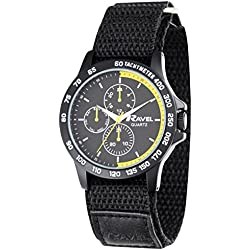 Ravel Work Watch with Fast Fit Action Grip Velcro Strap Men's Quartz Watch with Black Dial Analogue Display and Black Nylon Strap R1601.62.39
