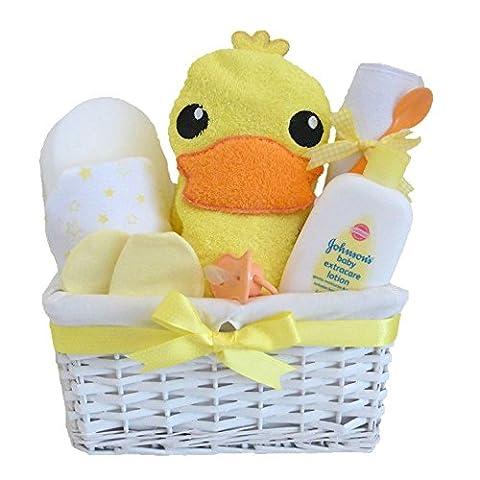 Mrs Ducky Deluxe mixte Johnson's Baby Panier cadeau/panier de bébé/neutre Baby Shower/neutre/cadeau pour bébé Cadeau de Baby Shower/New arrivée/souvenir/envoi rapide