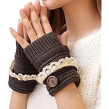 TININNA Lindo Moda Invierno cálido Guantes para Mujeres,Muñeca Guantes sin dedos Guantes Mitones de Encaje Invierno Caliente-Gris oscuro