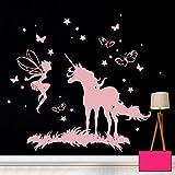 ilka parey wandtattoo-welt® Wandtattoo Wandbild Wandaufkleber Wandsticker Aufkleber Sticker Einhorn Fee mit Sternen und Schmetterlingen M2017 - ausgewählte Farbe: *pink* ausgewählte Größe: *XXL - 130cm breit x 130cm hoch*
