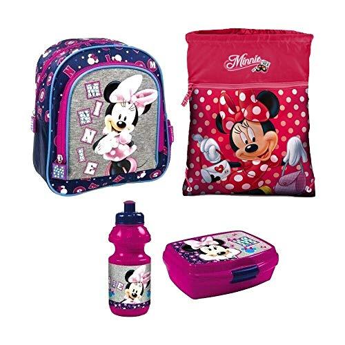 ouse Disney Kindergarten Rucksack Set 4 Teile Brotdose Trinkflasche Turnbeutel mit Sticker von Kids4shop ()