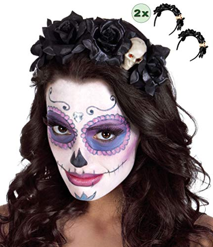 Karneval-Klamotten Tag der Toten Zwei Haarreife Stirnband Haarschmuck Kopfschmuck Day of The Death Haarreif schwarz mit Skelett Halloween ()