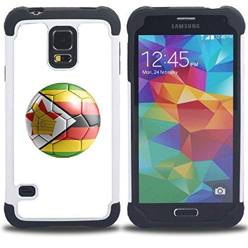 Preisvergleich Produktbild STPlus Simbabwe Simbabwe Fußball Ball Flagge Stoßfest Harte + Flexibel Silikon Hülle Tasche Schutzhülle für Samsung Galaxy S5