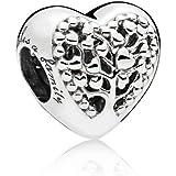Ciondolo a forma di cuore con albero dell'amore in argento Sterling 925