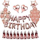 Weimi Geburtstag Dekorationen Rose Gold für Mädchen Aufblähen Folie Happy Birthday Banner Konfetti Latex Ballons für Women Party Supplies