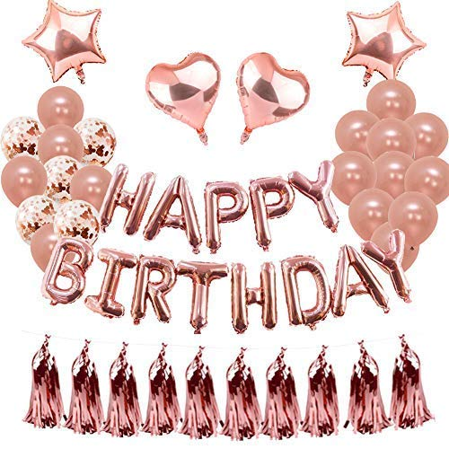 orationen Rose Gold für Mädchen Aufblähen Folie Happy Birthday Banner Konfetti Latex Ballons für Women Party Supplies ()