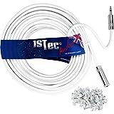 1STEC bianco con cavo prolunga per cuffie stereo con presa femmina mini jack 3.5mm maschio 1/20,3cm 5 metri