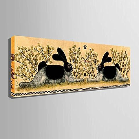 ZRF-pittura Clock Due conigli decorativi non pittura orologio ristorante in camera soggiorno camera da letto per bambini scatola,24 * 70CM?senza