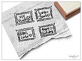Stempel - 4er-Set Textstempel BRIEFMARKE handschriftlich VIEL GLÜCK, HAPPY BIRTHDAY, ALLES LIEBE, VIELEN DANK - 4 x Schriftstempel Typostempel Schrift Text Handschrift - Glückwünsche Gratulation Liebe Grüße Dankeschön - für Karten Geschenke Geschenkanhänger - von zAcheR-fineT (Briefmarken 4er-Set)