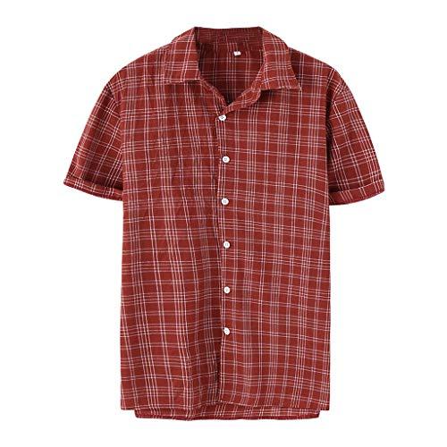 SSUPLYMY Sommer Herren Kurzarm T-Shirt Cooles und Atmungsaktives Einfarbiges Baumwollhemd Knopf Oberteil Männer Vintage Spleißen Leinen Solide Kurzarm Retro T Shirts Tops Bluse -