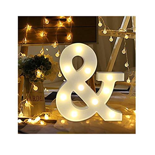 sunnymi Alphabet LED Brief Lichter leuchten weiße Kunststoff Buchstaben Stehen Hängen A bis Z & Wortkombination Home Garten Hotel Geschäft Dekor (&, 22 * 18cm*4.5cm)
