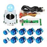 EG Starts 1joueur Arcade USB Encoder Pour PC Jeux Blue Stick Controller + 10x LED lumineux Boutons pour arcade joystick Kit DIY Parties Mame Raspberry Pi