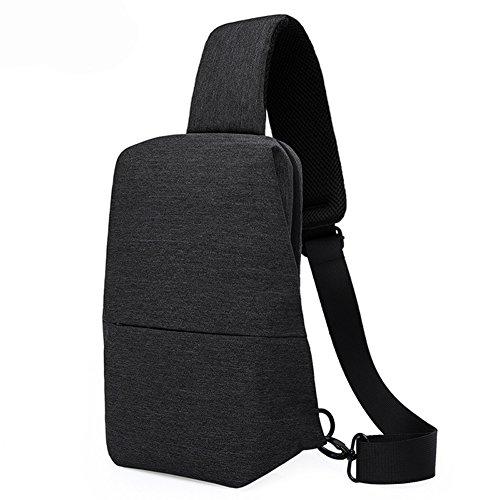 Lanlan Unisex Brust, Rücken Pack Messenger Sling Bag Outdoor Schulter Cross Body Taschen, schwarz