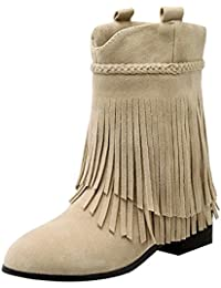 UH Damen Flache Ankle Boots Fransen Stiefeletten mit Fell Bequeme Warm  Herbst Winter Schuhe 026701b0ec