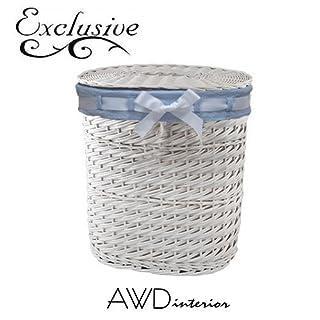 Hochwertige Schöne Wäschebox-Landhauswäschebox-Wäschesammler mit Stoffinlay-Weidenbaum-Farbe:weiß/-blau-Aufbewahrungsbox-AWD DESIGN-Größe: 45*31*53 cm-NEU 2015-AWD02241078-Handmade