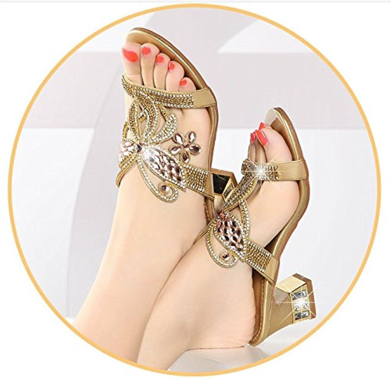 AWXJX Chanclas para mujer Diamante Artificial Desgaste Exterior Mediados Talón Gruesas con Golden 5.5 US/35.5...