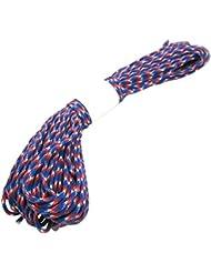 Cuerda del paracaidas - TOOGOO(R) Paracord Cuerda del paracaidas, con 7 hilos, 550 lbs, 100 ft - Camuflaje Rojo + Blanco + Azul