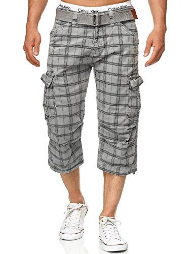 Indicode Herren Nicolas Check 3/4 Karierte Cargo Shorts inkl. Gürtel aus nachhaltiger Baumwolle Lt Grey Check M