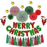TOPWINRR Papier Fans Blumen Merry Christmas Luftballons Quaste Rot Weihnachtsmann Dekorationen (29 Stücke)