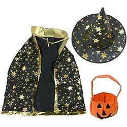 Halloween disfraces de estrellas Fancy Wizard capa + gorro de bruja + estéreo de calabaza de bolsa para niños recién nacido