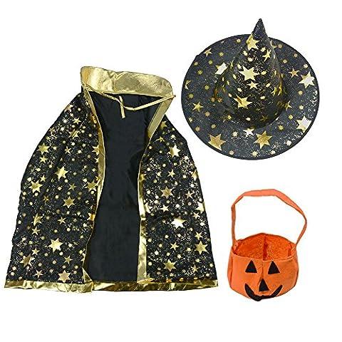 Zauberer-Kostüm für Halloween, Umhang mit Sternen, Hexenhut, Kürbis-Tasche für Kinder (Kostüm Idee)
